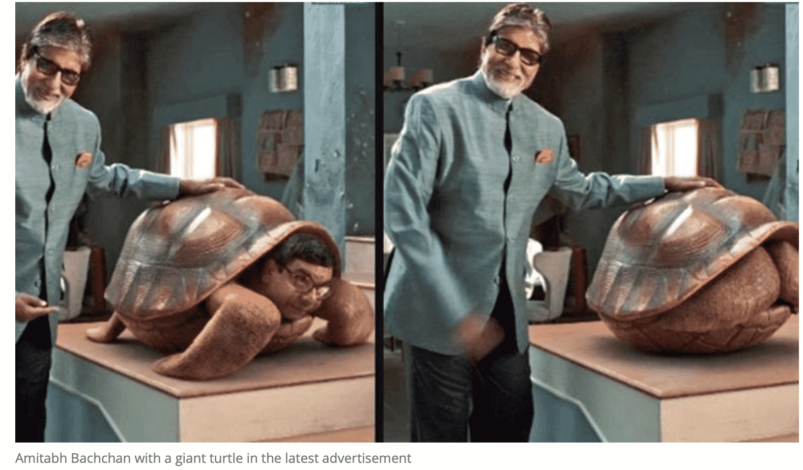 Amitabh Bachchan is chilling with giant turtle in latest ad. Twitter has best memes. 3