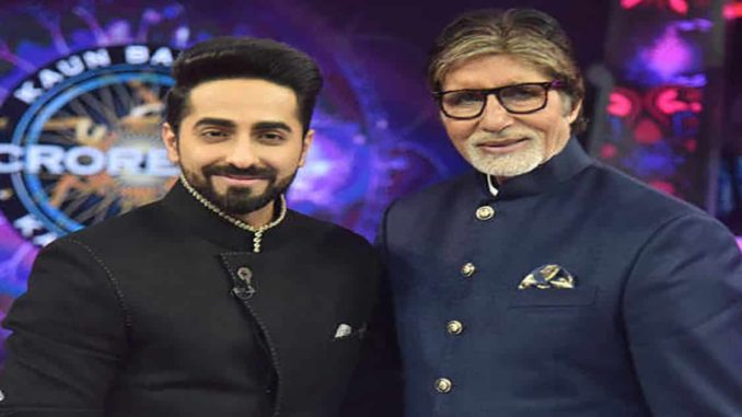 Amitabh Bachchan and Ayushmann at KBC11