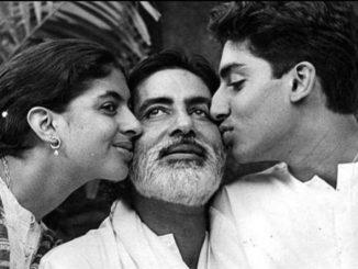 Amitabh Bachchan with Shweta and Abhishek